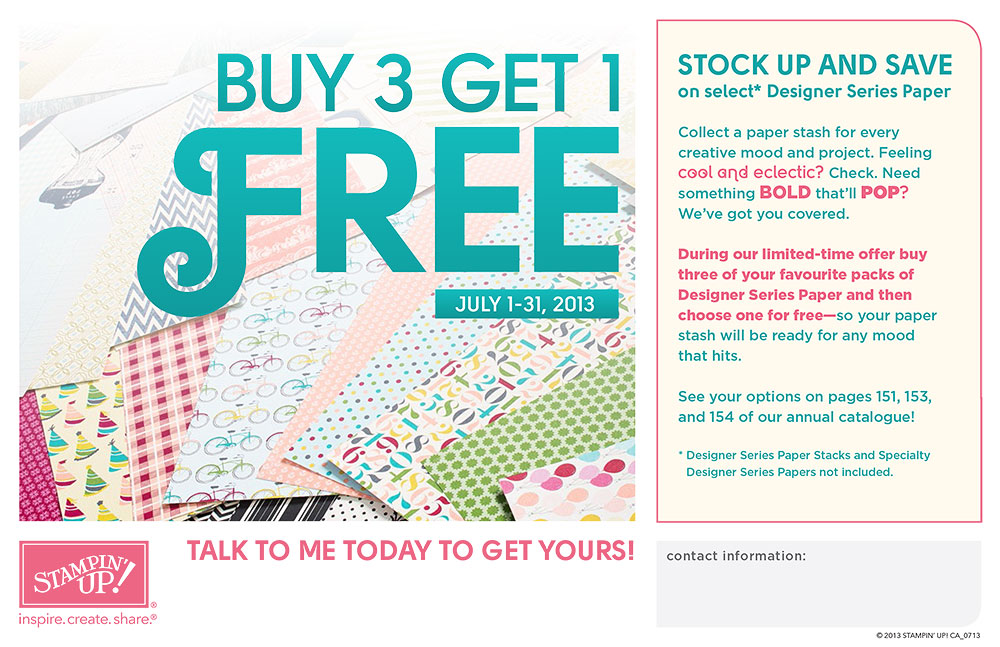 Flyer Buy 1 get one Free for July