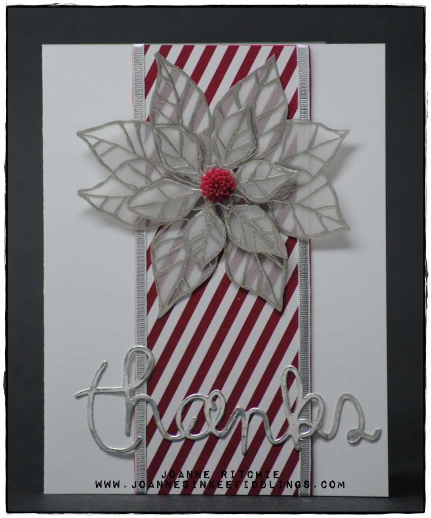 Joyful Christmas Thankyou - Red White Silver Card - JIF