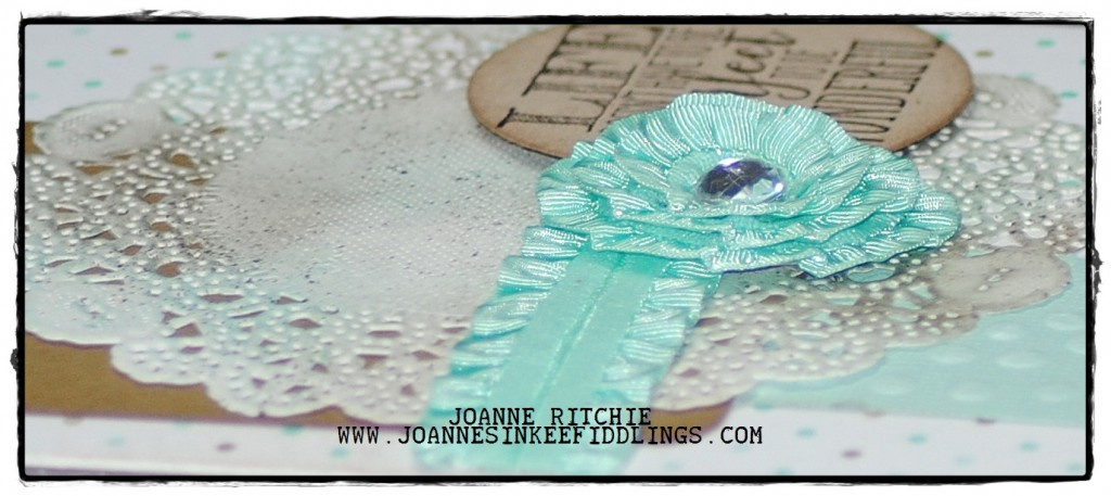 Sponged Doily, Ribbon Rossette and Round Sentiment- Mojo 333 - JIF