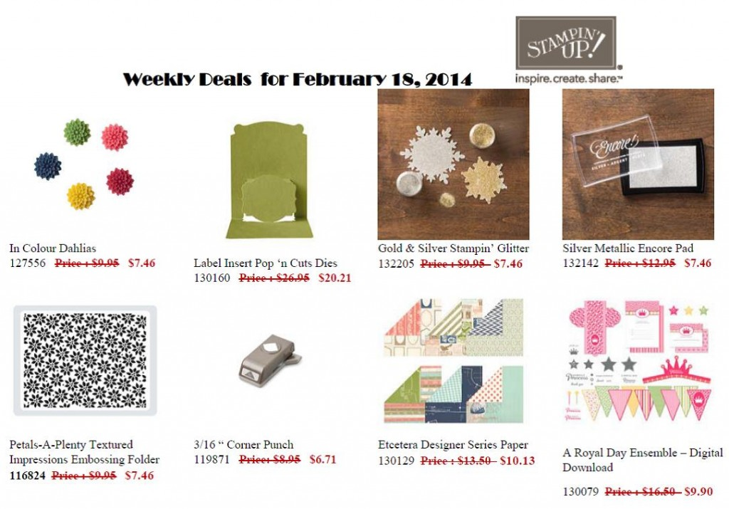 Weekly Sale Items avaiilable until Monday 24 February 2014
