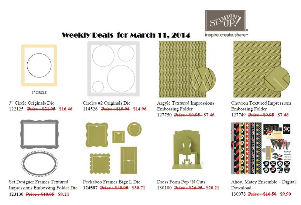 Weekly Deals  through until Monday 17 March!