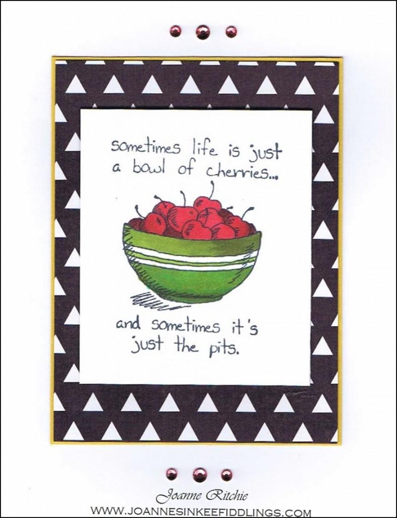 Giggle Greetings - Bowl of Cherries Black White - JIF