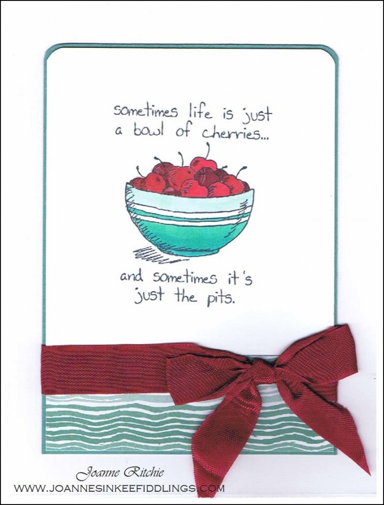 Giggle Greetings - Bowl of Cherries Red Bow - JIF