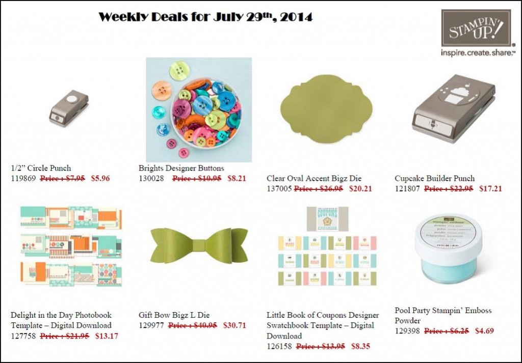 Weekly Deals - July 29 til Aug 4!