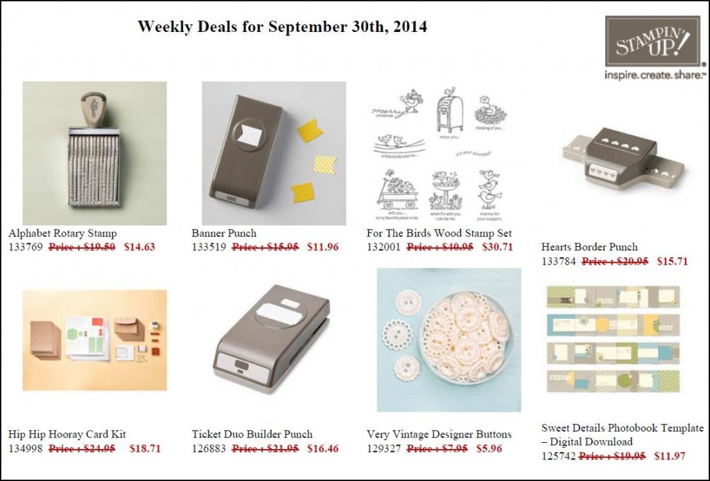 Weekly Deals for Week - Sept 30 to Oct 6