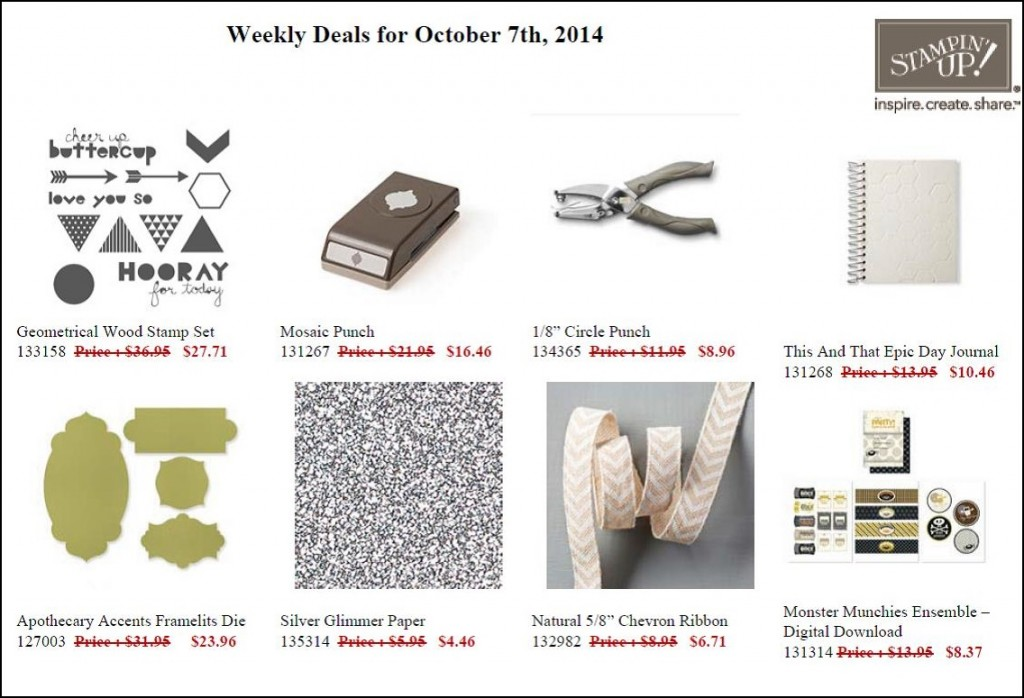 Weekly Deals October 7 to 13!