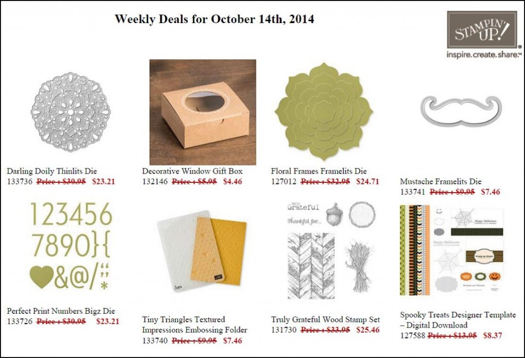 Weekly Deals October 14 to 20!