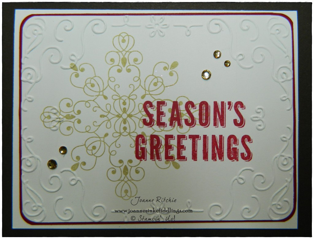 Letterpress Winter with the Filigree Frame Embossing Folder
