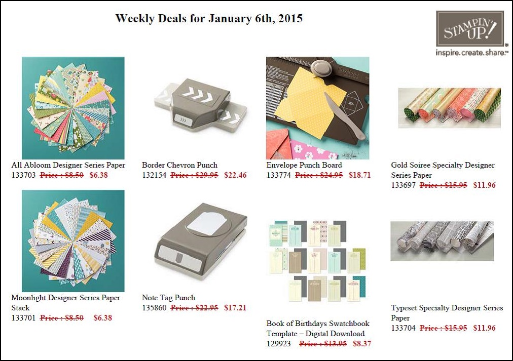 Weekly Deals - valid until January 12th!