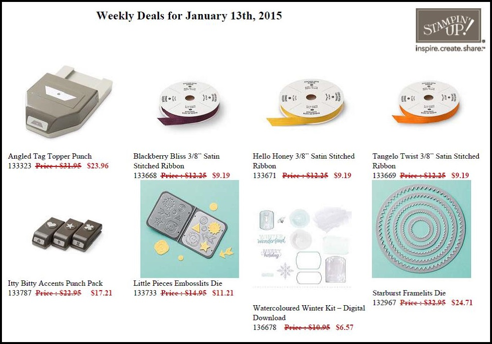 Weekly Deals - 13 to 19 January 2015