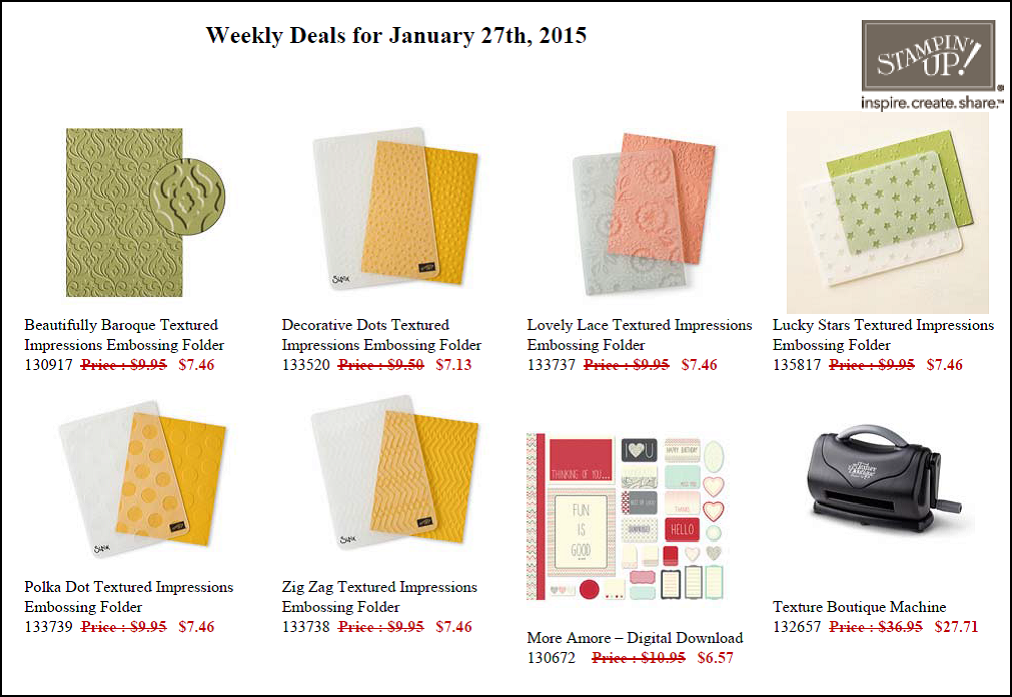 Weekly Deals - 27 January to 2 February
