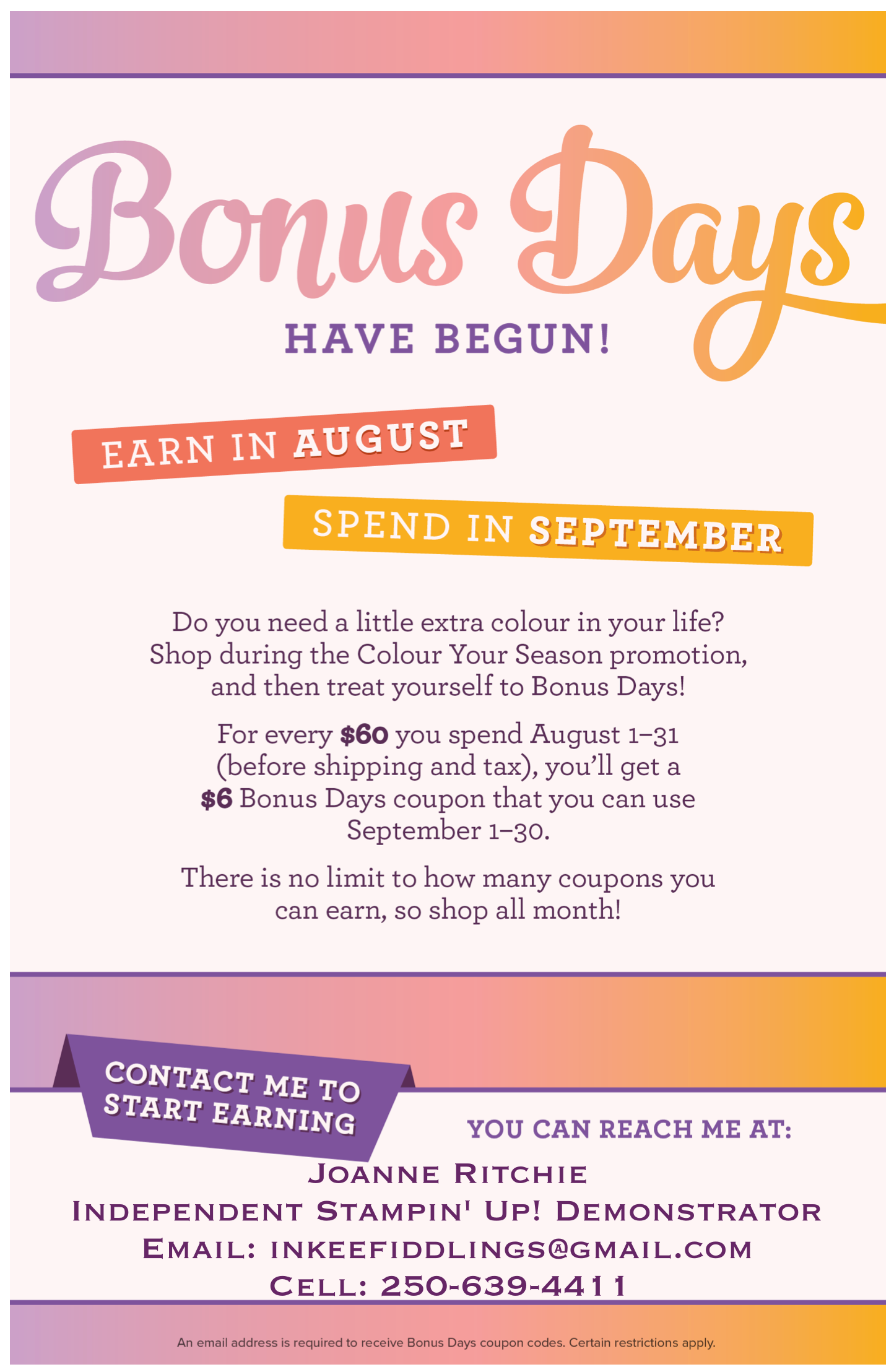Bonus Days in August